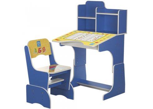 Детская парта-трансформер со стульчиком Прописи, B 2071-14 голубой
