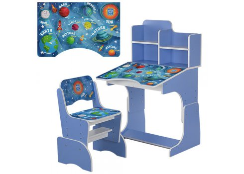 Детская парта-трансформер со стульчиком Космос, B 2071-24 голубой