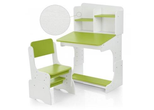 Детская парта-трансформер со стульчиком, FB2071-2 белый с лаймовым