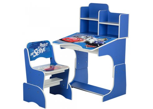 Детская парта-трансформер со стульчиком Тачки, W 2071-3-2 синий