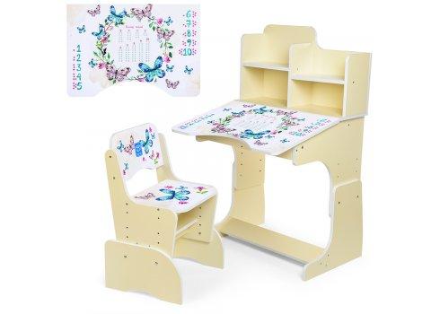 Детская парта-трансформер со стульчиком, B 2071-38-1 Бабочки белая
