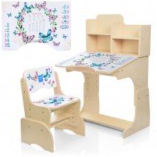 Детская парта-трансформер со стульчиком Бабочки Bambi B 2071-38-7 венге