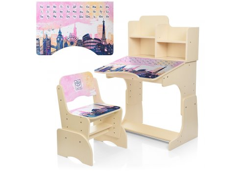 Детская парта-трансформер со стульчиком Достопримечательности, B 2071-39-4 венге