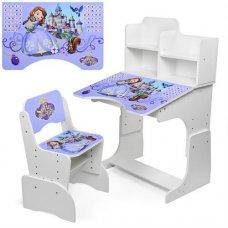 Детская парта-трансформер со стульчиком Принцесса София, W 2071-40-4 белая