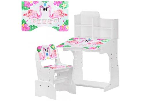 Детская парта-трансформер со стульчиком Фламинго, B 2071-41-1 белый