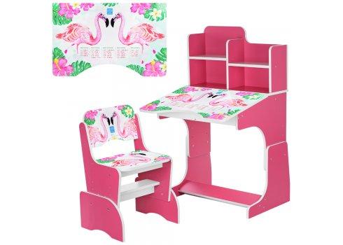 Детская парта-трансформер со стульчиком Фламинго, B 2071-41-8 малиновый