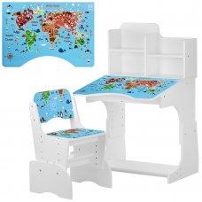 Детская парта-трансформер со стульчиком География, B 2071-45-1 белый