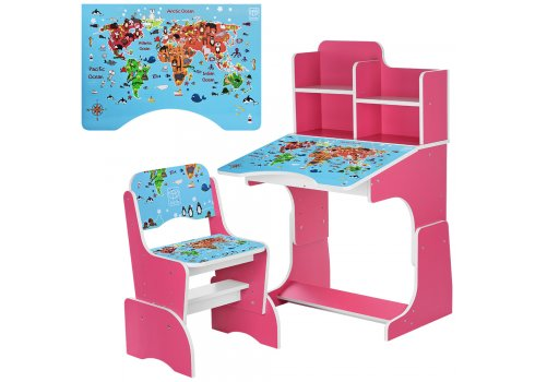 Детская парта-трансформер со стульчиком География, B 2071-45-5 малиновый