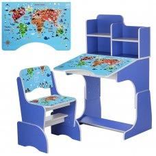 Детская парта-трансформер со стульчиком География, B 2071-45-7 синий