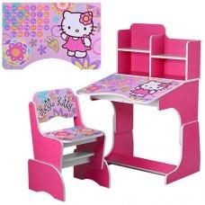 Детская парта-трансформер со стульчиком Hello Kitty, W 2071-48-2 малиновая