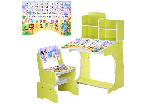 Детская парта-трансформер со стульчиком Алфавит украинский, BL 2071-50-5(UA) салатовый