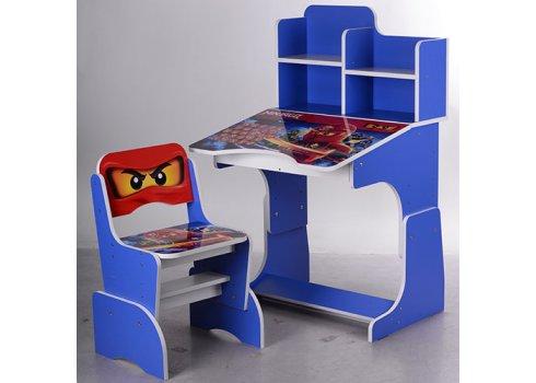 Детская парта-трансформер со стульчиком Ninjago W 2071-52-2 синий