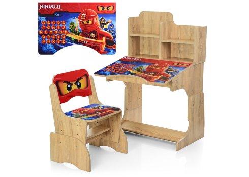 Детская парта-трансформер со стульчиком Ninjago W 2071-52-3 дерево