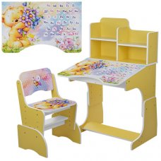 Детская парта-трансформер со стульчиком Мишка, B 2071-54-3 желтый