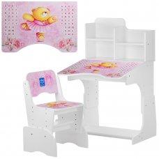 Детская парта-трансформер со стульчиком Мишка-балерина, B 2071-55-1 белый