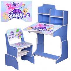Детская парта-трансформер со стульчиком My little Pony, W 2071-56-6 голубой
