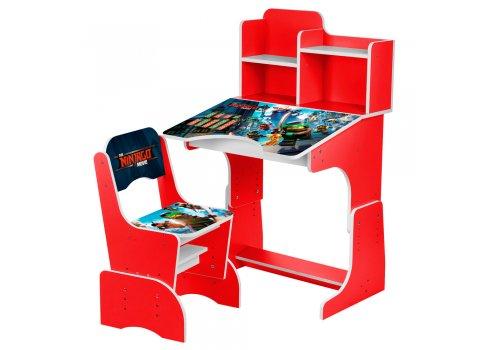 Детская парта-трансформер со стульчиком Ninjago W 2071-66-3 красный