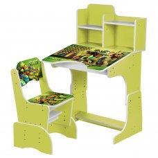 Детская парта-трансформер со стульчиком Ниндзя Черепашки W 2071-68-4 зеленый