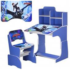 Детская парта-трансформер со стульчиком Как приручить дракона, W 2071-71-2 синий