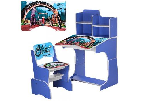 Детская парта-трансформер со стульчиком Bikes W 2071-73-3 синий
