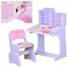 Детская парта-трансформер со стульчиком Фламинго W 2071-74-4 сиреневый