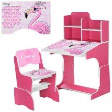 Детская парта-трансформер со стульчиком Фламинго W 2071-74-5 малиновый