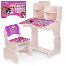 Детская парта-трансформер со стульчиком LOL W 2071-75-3 сиреневый и розовый