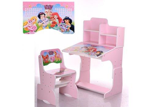 Детская парта-трансформер со стульчиком Принцессы Disney W 2071-8-3 розовый