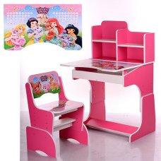 Детская парта-трансформер со стульчиком Принцессы Disney W 2071-8-4 малиновый