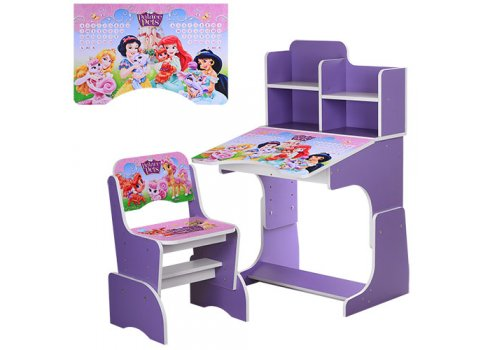 Детская парта-трансформер со стульчиком Принцессы Disney W 2071-8-6 фиолетовый