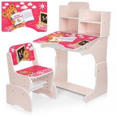 Детская парта-трансформер со стульчиком Мишка Bambi B 2071-83-2(RU) розовый