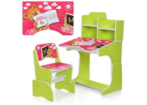 Детская парта-трансформер со стульчиком Мишка Bambi B 2071-83-5(RU) салатовый