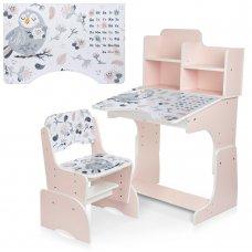 Детская парта-трансформер со стульчиком Совы Bambi B 2071-88-2(UA) розовый