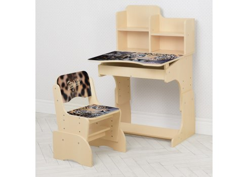 Детская парта-трансформер со стульчиком Леопард Bambi B 2071-92-1(EN) венге