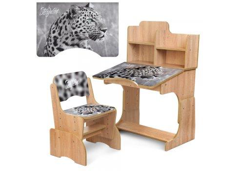 Детская парта-трансформер со стульчиком Леопард Bambi B 2071-93-4(EN) дуб сонома