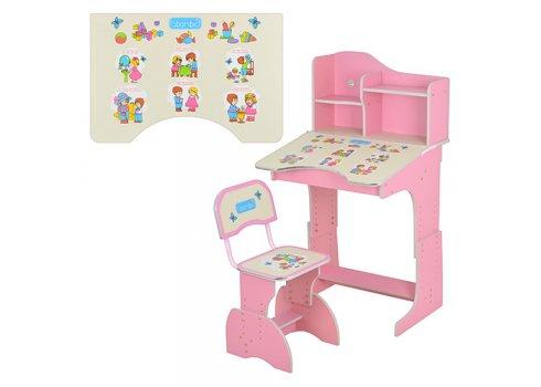 Детская парта-трансформер со стульчиком, правила этикета, HB 2071 UK-02-7 розовая