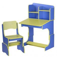 Детская парта-трансформер со стульчиком, F 2071A-5-4 синий с салатовым