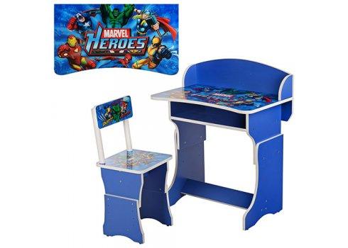 Детская парта со стульчиком, регулируемая высота, 301-15 синий