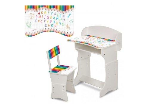 Детская парта со стульчиком Карандаши, высота регулируется, Bambi HB-301-77