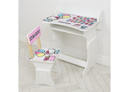 Парта детская со стульчиком Hello Kitty, высота регулируется, Bambi HB-301-84