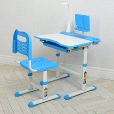 Парта школьная BAMBI M 4428-4 регулируемая со стулом и LED лампой синий