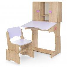 """Детская парта """"Растишка"""" с ящиком и шкафчиком Bambi W 903-13 дерево с сиреневым"""