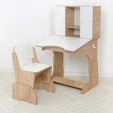 """Детская парта """"Растишка"""" с ящиком и шкафчиком Bambi W 903-15 дерево с белым"""