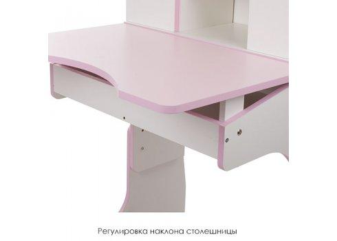 """Детская парта """"Растишка"""" с ящиком и шкафчиком, Bambi W 903-3 бело-розовая"""