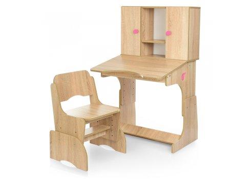 """Детская парта """"Растишка"""" с ящиком и шкафчиком Bambi W 903-9-1 дерево с розовым"""