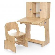 """Детская парта """"Растишка"""" с ящиком и шкафчиком Bambi W 903-9-3 дерево с синим"""