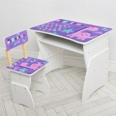 """Детская стол-парта со стульчиком """"Динозавр"""" Bambi 905-93(UA) фиолетовый"""