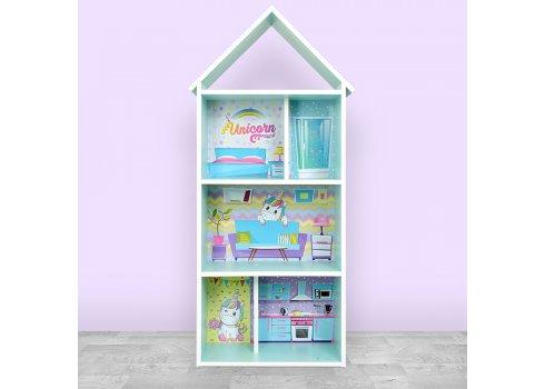 Детский стеллаж для книг и игрушек (домик-полка) Единорог BAMBI H 2020-1-1 мята