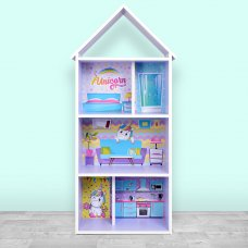 Детский стеллаж для книг и игрушек (домик-полка) Единорог BAMBI H 2020-1-2 фиолетовый