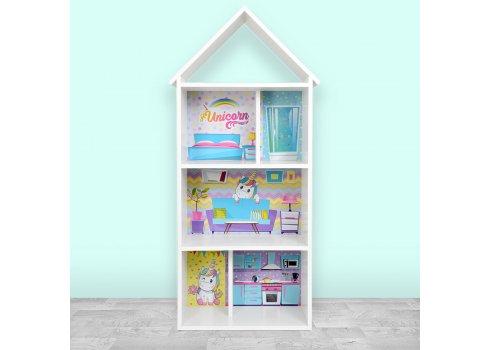 Детский стеллаж для книг и игрушек (домик-полка) Единорог BAMBI H 2020-1-3 белый
